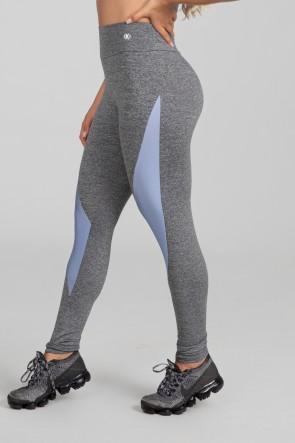 Calça Legging com Recorte Diagonal Tecido Platinado (Mescla / Azul Claro) | Ref: K2894-B