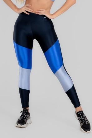 Calça Legging com Recorte Duplo Frontal (Azul Marinho / Azul / Azul Claro) | Ref: K2963-A