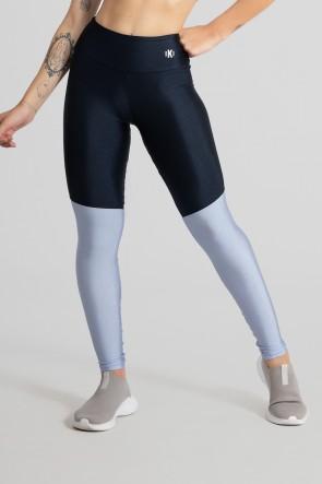 Calça Legging com Recorte em Diagonal (Azul Marinho / Azul Claro) | Ref: GO470-C
