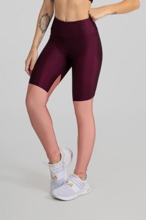 Calça Legging Tecido Platinado com Recorte em Diagonal (Bordô / Rosê) | Ref: GO470-B