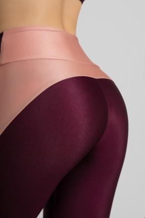 Calça Legging Tecido Platinado com Recorte Meia Lua (Bordô / Rosê)   Ref: GO462-C