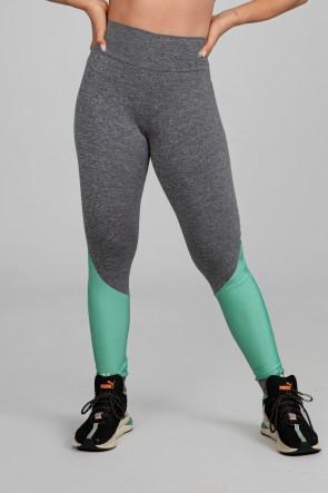 Calça Legging Duas Cores com Recorte Diagonal Tecido Platinado (Mescla / Verde Claro) | Ref: K2893-B