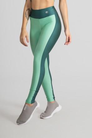 Calça Legging Tecido Platinado Duas Cores (Verde Claro / Verde Petróleo) | Ref: GO472-F
