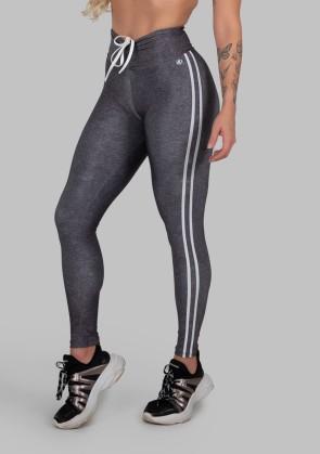 Calça Legging Estampa Digital com Cós Franzido e Cadarço (Sport Stripes Grey) | Ref: K2997-A