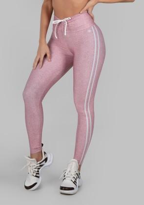 Calça Legging Estampa Digital com Cós Franzido e Cadarço (Sport Stripes Pink) | Ref: K2997-B