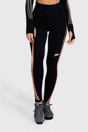 Calça Legging Fitness com Silk Waves (Preto / Laranja Neon + Off-White)   Ref: GO28-A
