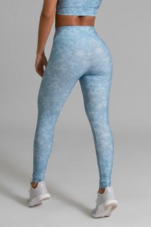 Calça Legging Fitness Estampa Digital Blue Lace | Ref: GO367