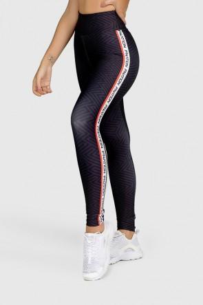 Calça Legging Fitness Estampa Digital Red Lines  Ref GO326