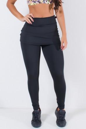 Calça Legging Lisa com Saia Franzida (Preto) | Ref: KS-F315-003