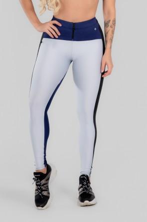 Calça Legging Três Cores com Zíper (Branco / Azul Marinho / Preto) | Ref: K2967-C