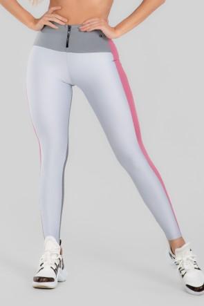 Calça Legging Três Cores com Zíper (Branco / Cinza / Rosa) | Ref: K2967-B