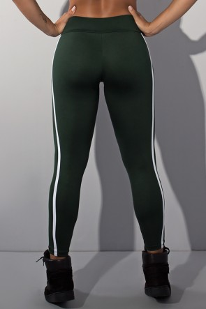 Calça Fuseau Cós Baixo com Duas Listras (Verde Escuro)   Ref:F654-006