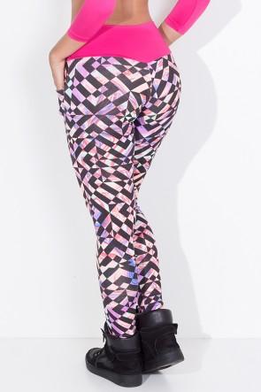 Calça Dany Estampada com Bolso (Mosaico Preto com Salmão Roxo e Verde / Rosa Pink) | Ref: KS-F410-001
