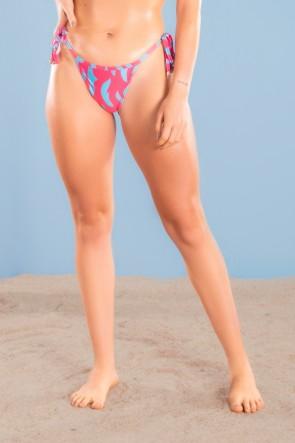 Calcinha Biquíni de Amarrar Estampa Digital (Pink Blast)  Ref K3046-A