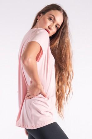 Camisetão com Silk Be Happy (Rosa Bebê) | Ref: K2850-D