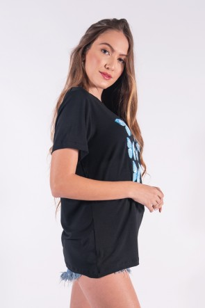 Camisetão com Silk Borboletas Azuis (Preto) | Ref: K2846-A