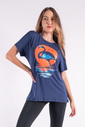 Camisetão com Silk Flamingo Por Do Sol (Azul Marinho) | Ref: K2845-F