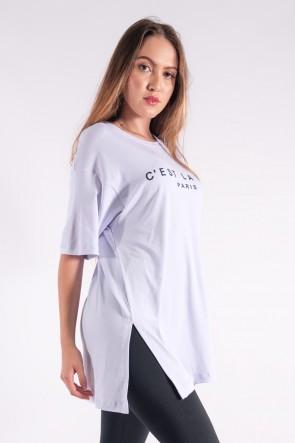 Camisetão Maxi com Silk Cest La Vie (Branco) | Ref: K2851-B