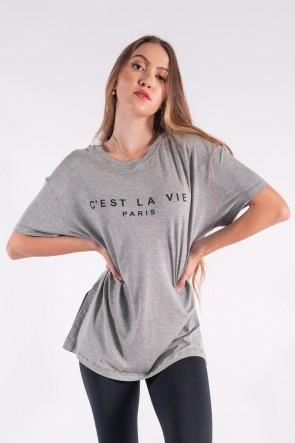 Camisetão Maxi com Silk Cest La Vie (Mescla) | Ref: K2851-C