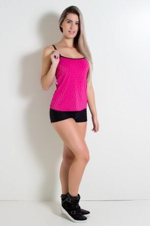 Conjunto Camiseta e Shortinho Tecido Bolha (Rosa Pink) | Ref: KS-F474-006