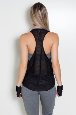 Camiseta Tecido Transparente com Bolso (Preto) | Ref: KS-F308-002