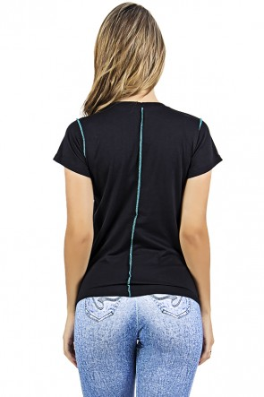 Camiseta de Malha Preta com Ponto de Cobertura | Ref: F1035