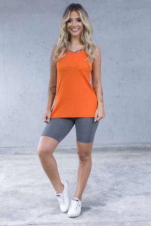 Camiseta de Microlight com Detalhe Lateral (Laranja) | Ref: KS-F1662-005