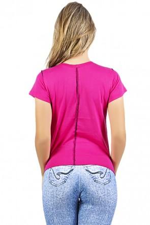 Camiseta de Malha Rosa Pink com Ponto de Cobertura | Ref: F1034