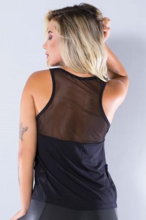 Camiseta Viscolycra com Detalhe em Tule | (Preto) | Ref: KS-PL04-001
