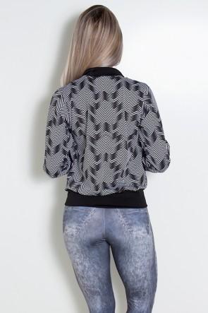 Jaqueta Estampada com Bolso (Setas Brancas com Preto / Preto) | Ref: KS-F1816-002