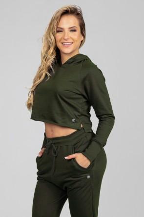 Casaco Curto de Moletom com Capuz (Verde Militar) | Ref: K2896-E