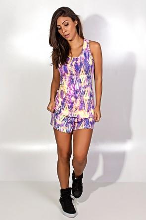 Conjunto Estampado Camiseta com Detalhe nas Costas e Short (Manchado Rosa Amarelo e Roxo) | Ref: KS-F1509-001