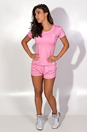 Conjunto Camisa + Short de Microlight (Rosa) | Ref: KS-F861-005
