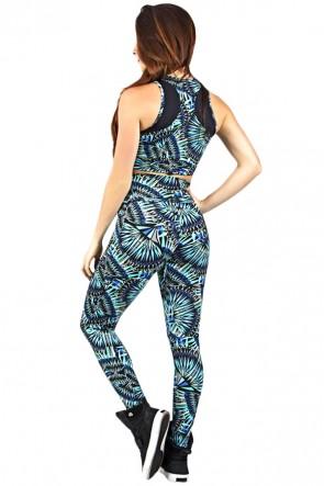 Conjunto Cropped Estampado com Detalhe Liso + Legging Estampada Azul Verde e Preto | Ref: KS-F848-002