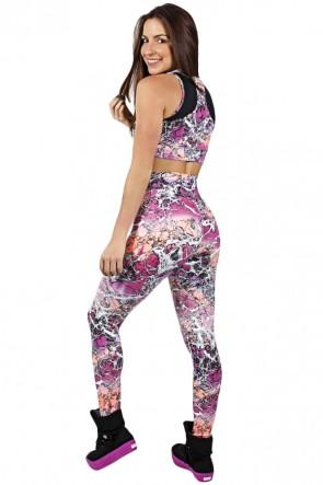 Conjunto Cropped Estampado com Detalhe Liso + Legging Estampada Rosa e Laranja com Manchas Brancas | Ref: F850