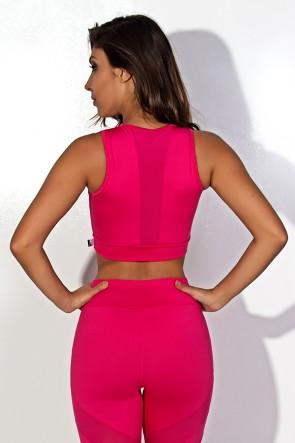 Cropped Liso com Detalhe Dry Fit (Rosa Pink) | Ref: KS-F1250-001