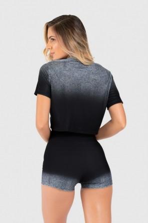 Cropped Fitness Soltinho Estampa Digital Gray Gradient | Ref: GO173