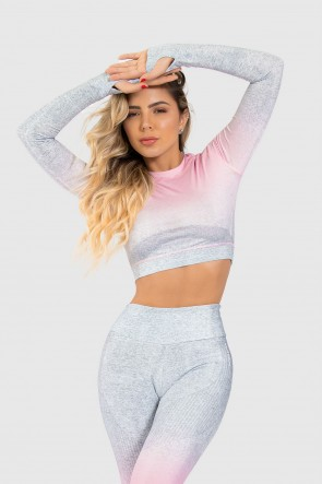 Cropped Fitness Manga Longa Dedinho Estampa Digital Pinking Mix | Ref: GO193