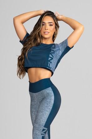 Cropped Fitness Soltinho Estampa Digital Double Merge | Ref: GO196
