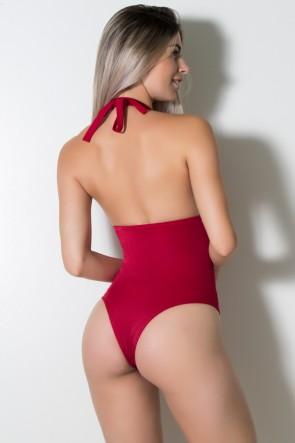 Maiô de Amarrar Liso com Bojo (Detalhe de Argola) (Vermelho) |  Lycra de Qualidade | Ref: DVBQ04-001