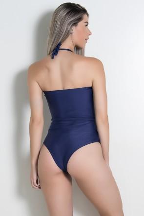 Maiô de Amarrar Liso com Bojo (Azul Marinho) |  Lycra de Qualidade | Ref: DVBQ05-003