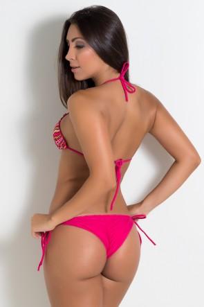 Biquini Levanta Bumbum com Calcinha Lisa (Listras e Ondulados Coloridos 2 / Rosa Choque) |  Lycra de Qualidade | Ref: DVBQ08-012