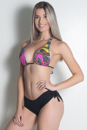 Biquini Cortinão com Calcinha Lisa (Indiano Rosa e Amarelo / Preto) | Ref: DVBQ12-003