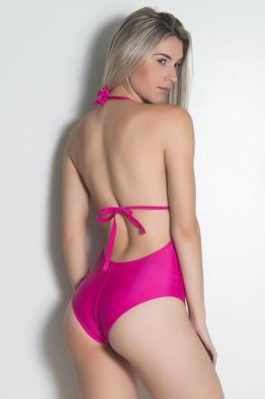 Maiô de Amarrar Liso com Detalhe em Argola (Rosa Pink) | Ref: DVBQ17-001
