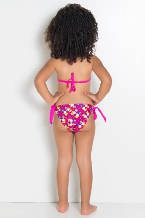 Biquini Infantil Estampado de Amarrar com Bojo (Rosa com Ratinhos Amarelos) | Ref: DVBQ27-001