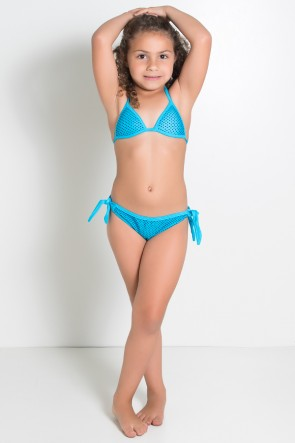 Biquini Infantil Estampado com Bojo (Azul Celeste com Pontinhos Pretos) | Ref: DVBQ29-001