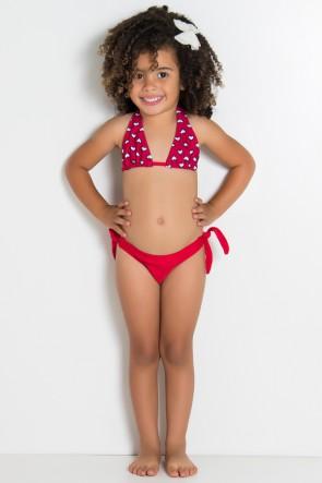 Biquini Infantil Cortininha com Calcinha Lisa (Vermelho com Corações Brancos / Vermelho) | Ref: DVBQ33-003