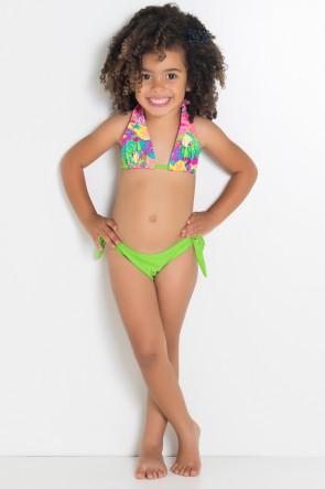 Biquini Infantil Cortininha com Calcinha Lisa (Fundo do Mar Colorido / Verde Limão) | Ref: DVBQ33-004