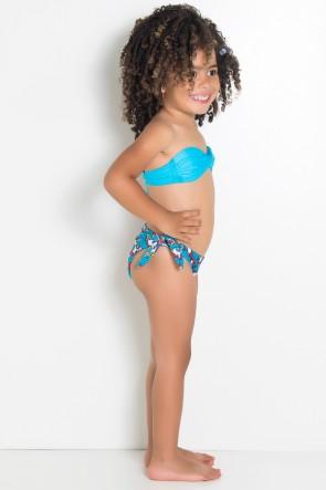 Biquini Infantil Tomara Que Caia com Bojo | Calcinha de Amarrar (Azul Celeste / Azul com Ratinhos Vermelhos) | Ref: DVBQ34-003