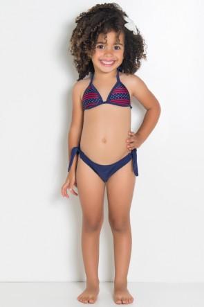 Biquini Infantil com Bojo Calcinha Lisa (Azul Marinho om Listras e Pontinhos / Azul Marinho) | Ref: DVBQ37-004